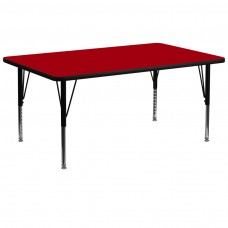 30''W x 72''L Rectangular Red Thermal Laminate Activity Table - Height Adjustable Short Legs [XU-A3072-REC-RED-T-P-GG]