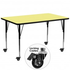 Mobile 30''W x 72''L Rectangular Yellow Thermal Laminate Activity Table - Standard Height Adjustable Legs [XU-A3072-REC-YEL-T-A-CAS-GG]