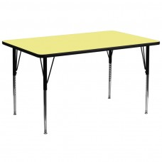 30''W x 72''L Rectangular Yellow Thermal Laminate Activity Table - Standard Height Adjustable Legs [XU-A3072-REC-YEL-T-A-GG]