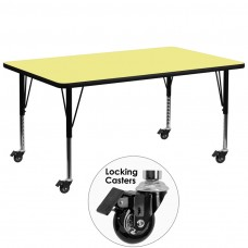 Mobile 30''W x 72''L Rectangular Yellow Thermal Laminate Activity Table - Height Adjustable Short Legs [XU-A3072-REC-YEL-T-P-CAS-GG]