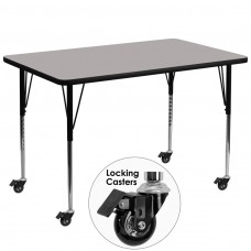 Mobile 36''W x 72''L Rectangular Grey HP Laminate Activity Table - Standard Height Adjustable Legs [XU-A3672-REC-GY-H-A-CAS-GG]