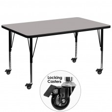 Mobile 36''W x 72''L Rectangular Grey HP Laminate Activity Table - Height Adjustable Short Legs [XU-A3672-REC-GY-H-P-CAS-GG]