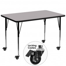 Mobile 36''W x 72''L Rectangular Grey Thermal Laminate Activity Table - Standard Height Adjustable Legs [XU-A3672-REC-GY-T-A-CAS-GG]
