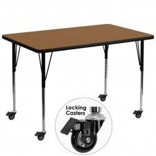 Mobile 36''W x 72''L Rectangular Oak Thermal Laminate Activity Table - Standard Height Adjustable Legs [XU-A3672-REC-OAK-T-A-CAS-GG]