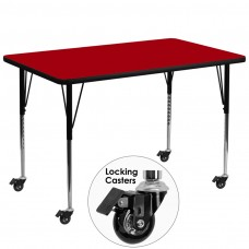 Mobile 36''W x 72''L Rectangular Red Thermal Laminate Activity Table - Standard Height Adjustable Legs [XU-A3672-REC-RED-T-A-CAS-GG]