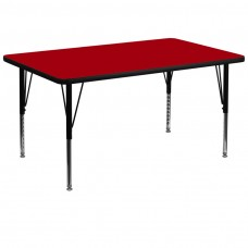 36''W x 72''L Rectangular Red Thermal Laminate Activity Table - Height Adjustable Short Legs [XU-A3672-REC-RED-T-P-GG]