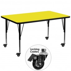 Mobile 36''W x 72''L Rectangular Yellow HP Laminate Activity Table - Height Adjustable Short Legs [XU-A3672-REC-YEL-H-P-CAS-GG]