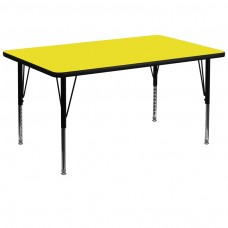 36''W x 72''L Rectangular Yellow HP Laminate Activity Table - Height Adjustable Short Legs [XU-A3672-REC-YEL-H-P-GG]