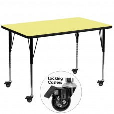 Mobile 36''W x 72''L Rectangular Yellow Thermal Laminate Activity Table - Standard Height Adjustable Legs [XU-A3672-REC-YEL-T-A-CAS-GG]