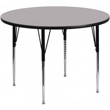 42'' Round Grey Thermal Laminate Activity Table - Standard Height Adjustable Legs [XU-A42-RND-GY-T-A-GG]