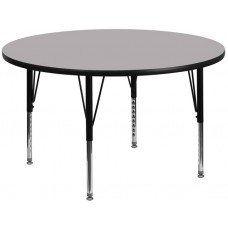 42'' Round Grey Thermal Laminate Activity Table - Height Adjustable Short Legs [XU-A42-RND-GY-T-P-GG]