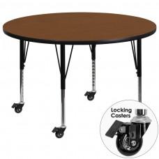 Mobile 42'' Round Oak HP Laminate Activity Table - Height Adjustable Short Legs [XU-A42-RND-OAK-H-P-CAS-GG]