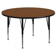 42'' Round Oak HP Laminate Activity Table - Height Adjustable Short Legs [XU-A42-RND-OAK-H-P-GG]