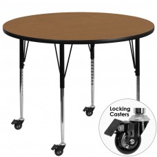 Mobile 42'' Round Oak Thermal Laminate Activity Table - Standard Height Adjustable Legs [XU-A42-RND-OAK-T-A-CAS-GG]
