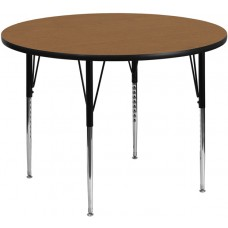 42'' Round Oak Thermal Laminate Activity Table - Standard Height Adjustable Legs [XU-A42-RND-OAK-T-A-GG]