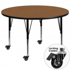 Mobile 42'' Round Oak Thermal Laminate Activity Table - Height Adjustable Short Legs [XU-A42-RND-OAK-T-P-CAS-GG]