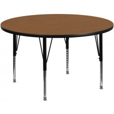 42'' Round Oak Thermal Laminate Activity Table - Height Adjustable Short Legs [XU-A42-RND-OAK-T-P-GG]