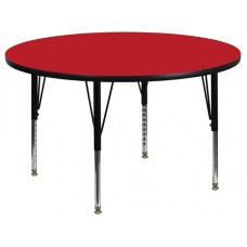 42'' Round Red HP Laminate Activity Table - Height Adjustable Short Legs [XU-A42-RND-RED-H-P-GG]