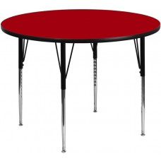 42'' Round Red Thermal Laminate Activity Table - Standard Height Adjustable Legs [XU-A42-RND-RED-T-A-GG]