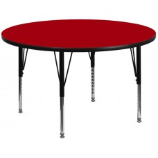 42'' Round Red Thermal Laminate Activity Table - Height Adjustable Short Legs [XU-A42-RND-RED-T-P-GG]