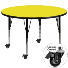 Mobile 42'' Round Yellow HP Laminate Activity Table - Height Adjustable Short Legs [XU-A42-RND-YEL-H-P-CAS-GG]