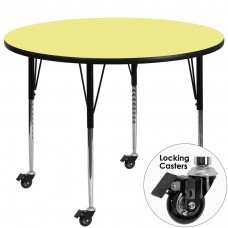 Mobile 42'' Round Yellow Thermal Laminate Activity Table - Standard Height Adjustable Legs [XU-A42-RND-YEL-T-A-CAS-GG]