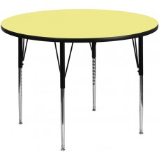 42'' Round Yellow Thermal Laminate Activity Table - Standard Height Adjustable Legs [XU-A42-RND-YEL-T-A-GG]