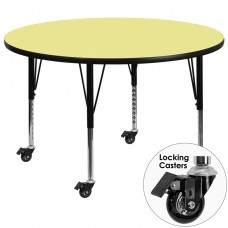 Mobile 42'' Round Yellow Thermal Laminate Activity Table - Height Adjustable Short Legs [XU-A42-RND-YEL-T-P-CAS-GG]