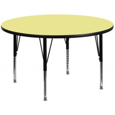 42'' Round Yellow Thermal Laminate Activity Table - Height Adjustable Short Legs [XU-A42-RND-YEL-T-P-GG]