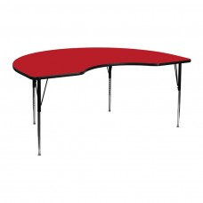 48''W x 72''L Kidney Red HP Laminate Activity Table - Standard Height Adjustable Legs [XU-A4872-KIDNY-RED-H-A-GG]