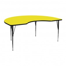 48''W x 72''L Kidney Yellow HP Laminate Activity Table - Standard Height Adjustable Legs [XU-A4872-KIDNY-YEL-H-A-GG]