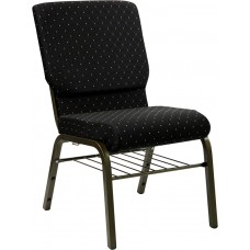 HERCULES Series 18.5''W Church Chair in Black Dot Patterned Fabric with Book Rack - Gold Vein Frame [XU-CH-60096-BK-BAS-GG]