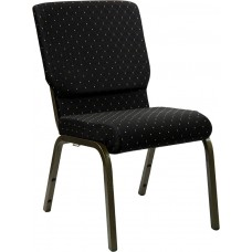 HERCULES Series 18.5''W Stacking Church Chair in Black Dot Patterned Fabric - Gold Vein Frame [XU-CH-60096-BK-GG]
