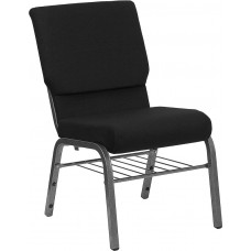 HERCULES Series 18.5''W Church Chair in Black Fabric with Book Rack - Silver Vein Frame [XU-CH-60096-BK-SV-BAS-GG]