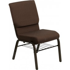 HERCULES Series 18.5''W Church Chair in Brown Fabric with Book Rack - Gold Vein Frame [XU-CH-60096-BN-BAS-GG]