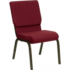HERCULES Series 18.5''W Stacking Church Chair in Burgundy Fabric - Gold Vein Frame [XU-CH-60096-BY-GG]