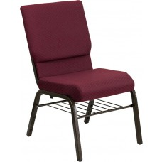 HERCULES Series 18.5''W Church Chair in Burgundy Patterned Fabric with Book Rack - Gold Vein Frame [XU-CH-60096-BYXY56-BAS-GG]