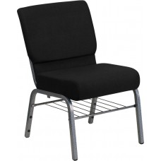 HERCULES Series 21''W Church Chair in Black Fabric with Book Rack - Silver Vein Frame [XU-CH0221-BK-SV-BAS-GG]
