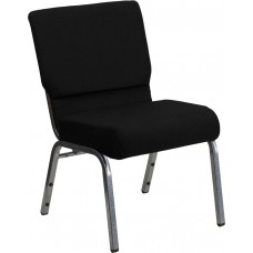 HERCULES Series 21''W Stacking Church Chair in Black Fabric - Silver Vein Frame [XU-CH0221-BK-SV-GG]