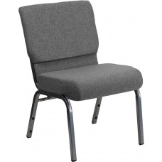 HERCULES Series 21''W Stacking Church Chair in Gray Fabric - Silver Vein Frame [XU-CH0221-GY-SV-GG]