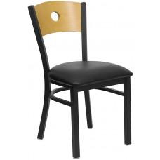 HERCULES Series Black Circle Back Metal Restaurant Chair - Natural Wood Back, Black Vinyl Seat [XU-DG-6F2B-CIR-BLKV-GG]