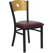 HERCULES Series Black Circle Back Metal Restaurant Chair - Natural Wood Back, Burgundy Vinyl Seat [XU-DG-6F2B-CIR-BURV-GG]