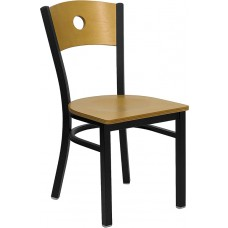 HERCULES Series Black Circle Back Metal Restaurant Chair - Natural Wood Back & Seat [XU-DG-6F2B-CIR-NATW-GG]