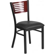 HERCULES Series Black Slat Back Metal Restaurant Chair - Mahogany Wood Back, Black Vinyl Seat [XU-DG-6G5B-MAH-BLKV-GG]