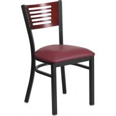HERCULES Series Black Slat Back Metal Restaurant Chair - Mahogany Wood Back, Burgundy Vinyl Seat [XU-DG-6G5B-MAH-BURV-GG]