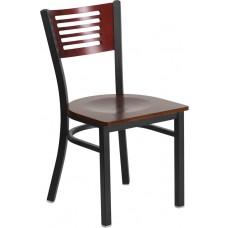 HERCULES Series Black Slat Back Metal Restaurant Chair - Mahogany Wood Back & Seat [XU-DG-6G5B-MAH-MTL-GG]