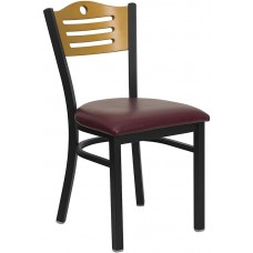 HERCULES Series Black Slat Back Metal Restaurant Chair - Natural Wood Back, Burgundy Vinyl Seat [XU-DG-6G7B-SLAT-BURV-GG]