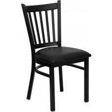 HERCULES Series Black Vertical Back Metal Restaurant Chair - Black Vinyl Seat [XU-DG-6Q2B-VRT-BLKV-GG]