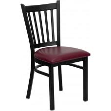 HERCULES Series Black Vertical Back Metal Restaurant Chair - Burgundy Vinyl Seat [XU-DG-6Q2B-VRT-BURV-GG]