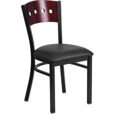 HERCULES Series Black 4 Square Back Metal Restaurant Chair - Mahogany Wood Back, Black Vinyl Seat [XU-DG-6Y1B-MAH-BLKV-GG]